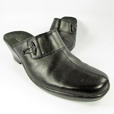 2a197d1e85ae04 Clarks Mules Womens Size 7M Black Leather Slides Slip-Ons Clogs Loafers  Shoes