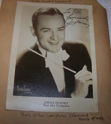 Hand signed Jimmy Dorsey 5x7 B&W Photo from old Scrap Book 1940