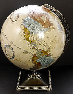 "Replogle 12"" Platinum Classic Series World Globe Relief Cast Metal Base Support"