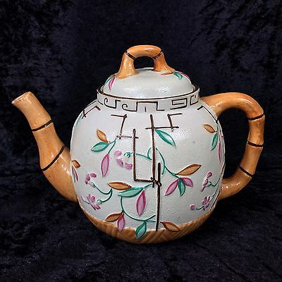 Antique Aesthetic Bamboo Teapot Brownhills & Co Pottery 1880 Victorian Stoneware