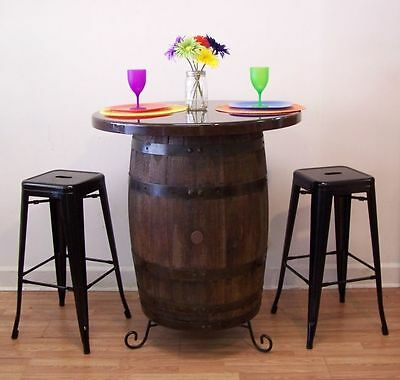 """Whiskey Barrel Table c/36"""" Resin Top-Stand-(2)-30"""" Bl Metal Bar Stools-FREE SHIP"""