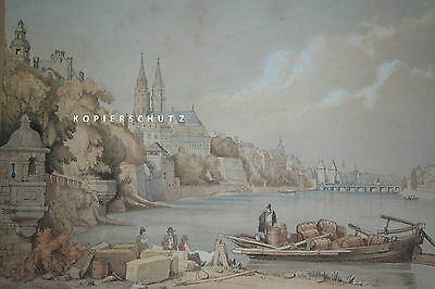 Adolphe Rouargue. Basel Gesamtansicht. Orig. Aquarell. Watercolor drawing 1850