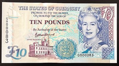 Brand New G Prefix Guernsey £10 Note G0000 83 Signed B. Haines, Low Number & Unc