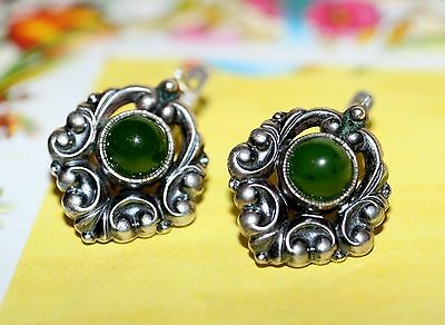 Godlike AMAZING jade Nephrite Vintage EARRINGS Silver 925 USSR GIFT!