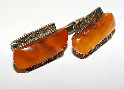 RARE USSR Vintage AMBER Cufflinks SILVER Gold Plated 875 Russian USSR Antique