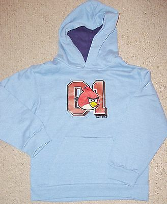 Boys Blue Marl Hoodie /hoody With Angry Birds Print To Front Age 9-10 Years