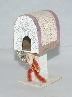 Vintage Christmas Snow Covered Paper Mailbox Santa Claus Japan Candy Container