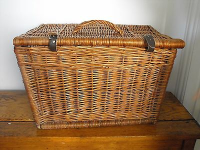 Large Vintage Square Wicker Picnic Basket with Lid