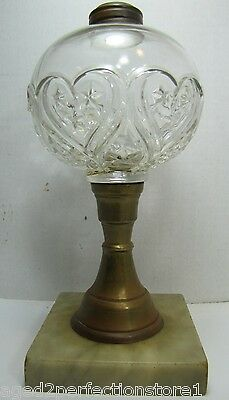 Antique 19c Heart Star Clear Glass Brass Marble Base Oil Lamp nicely detailed