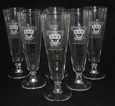 Vintage Set Of 6 Military Glass Footed Tumblers Us Army War College Mcm