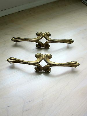 "Vintage Hardware, Drawer Pulls, 7"" W Gold Pair Drawer Pull, 2 Dresser Pulls 6"" C"