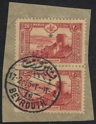 "Lebanon 1915 Superb ""beyrouth 16"" C&w 22 Tying Pair 20"