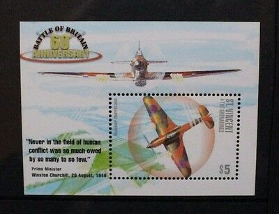 ST VINCENT & GRENADINES 2000 Battle of Britain Aircraft. 1 S/SHEET MNH SGMS4755b