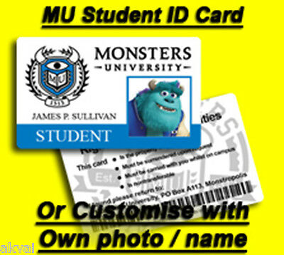 Monsters University Student ID card feat Sulley - Or Customize ID own Photo Name