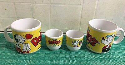 Vintage Popeye Breakfast Set - 2 Mugs & 2 Egg Cups