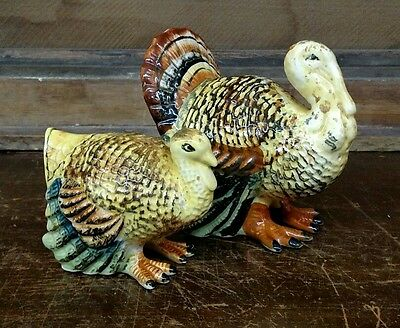 Vintage Ceramic Turkey Salt & Pepper Shakers Thanksgiving Harvest Made in Japan