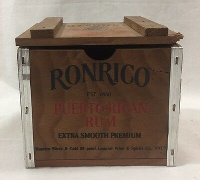 Vintage Small RONRICO Puerto Rican Rum Wood Box Case