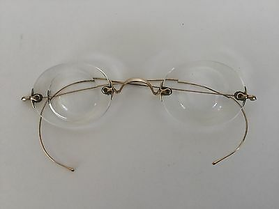 Antique Vintage Gold Tone Wire Rimless Eyeglasses Spectacles With Hard Case