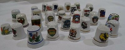 Vintage mixed lot Thimbles (30) Porcelain Souvenir Collectible VGC