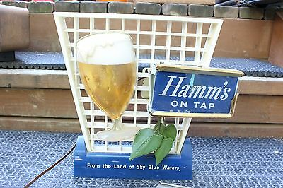Vintage Hamms Beer On Tap Lighted Table Top Cup Sign Man Cave Cabin Lodge