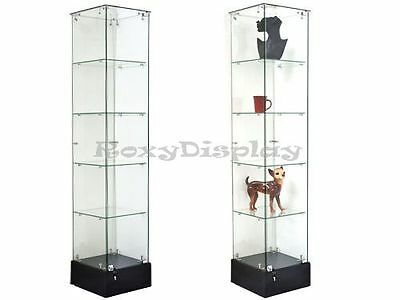 Black Glass square display tower Case KNOCKED DOWN Showcase #SC-GS15B