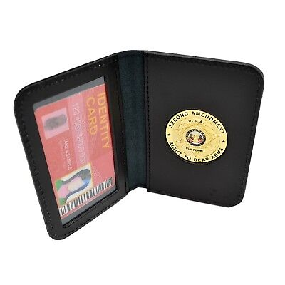 2nd Amendment Gold Medallion Concealed Weapons Carry Permit Leather Wallet Case