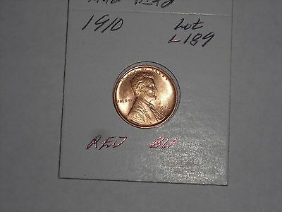 1910  Lincoln Cent  - Wheat Penny  -  RED  BU,  LOT L189