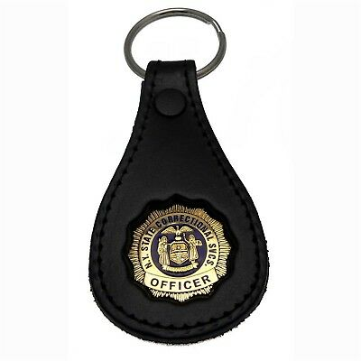 NY New York Corrections Officer DOCCS Mini Badge Leather Key ring FOB