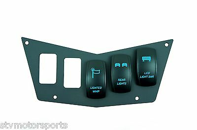 Black Dash Panel 5 Switch Polaris RZR XP 800S 900 With 3 Laser Backlit Switches