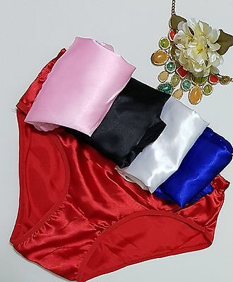 Pack of 5 Ladies Men's Satin Red Black Pink French Knickers Panties Full Briefs
