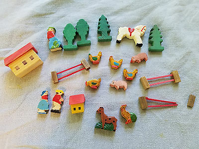 small wooden farm set tiny toys people barn fence chickens pigs