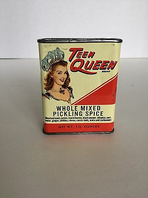 Vintage Teen Queen Brand Pickling Spice Tin Can 1.5 oz Creasey Co Louisville, KY