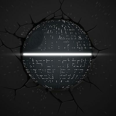 Star Wars Death Star 3D Deco Led Wall Light With Crack Stickers New Lamp