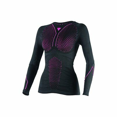 Dainese D-Core Thermo Womens Long Sleeve Base Layer Shirt Black/Fuchsia Pink