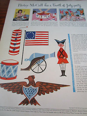 Vtg 1958 Betsy McCall 4th Fourth of July Party Planner Magazine Paper Doll Ad