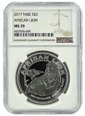 2017 Niue 1oz Silver Lion Coin NGC MS70 - Brown Label
