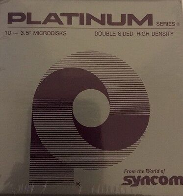 Six-10 Pack Syncom Platinum 3.5 Ds Dd Inch Floppy Disks Diskettes Factory Sealed