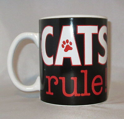 Cats Rule Coffee Mug Cup Large 20 oz Black Paw Print Red Ceramic Oversize Pets