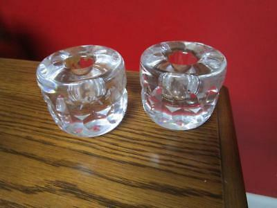 """Kosta Boda Pair Of Crystal Candle Holders, Signed """"warpp"""" [5*-2]"""