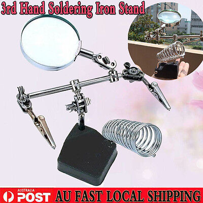 Solder 3rd Hand Soldering Iron Stand Holder Station Magnifier Helping Tool CHIC