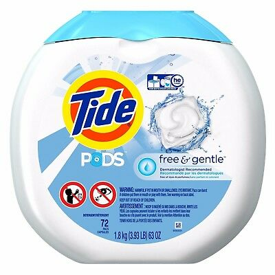 Tide PODS Free & Gentle Laundry Detergent, Unscented,72 count,Regular&HE Washers