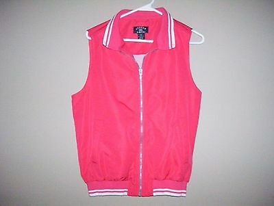 Cutter & Buck Womens Size S Pink White Trim Full Zipper Front Vest Clima Guard