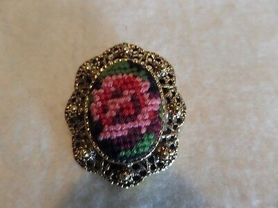 Vintage Gold Tone Petit Point Flower Brooch M1