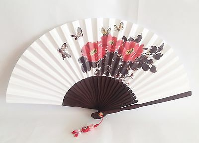 "Korean Art Hand fan "" Paeonia "" Traditional Collapsible 44.5cm 17.5inch"