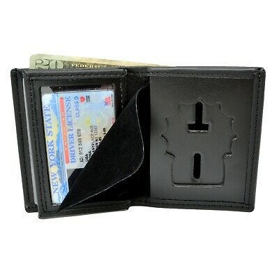 Police Detective Badge Wallet Black Leather Bi Fold Mens Perfect Fit S24 S25