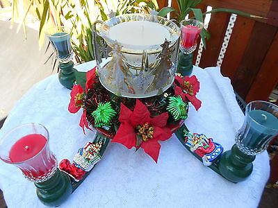 Handcrafted Original Christmas Holiday Table Decor Center Piece Candle Holder