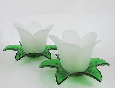 Vintage Decorative Glass Candleholders Green Leaves Frosted White Tulip Flowers