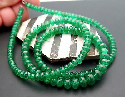 RARE GEM MATERIAL AAAA ZAMBIAN RICH VIBRANT GREEN EMERALD 3.3-6.2mm BEADS