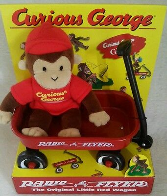 Curious George Vintage Radio Flyer Wagon With Gund Doll New in Box