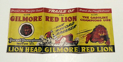 1934 GILMORE OIL Highway Road Map California OR WA Red Lion Head Gas Gasoline